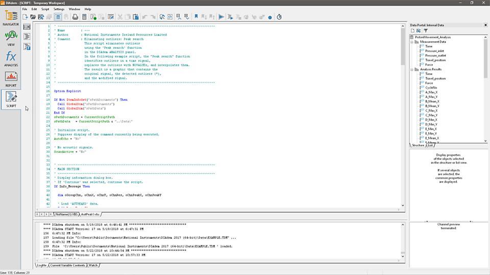 Trình chỉnh sửa script phần mềm DIAdem